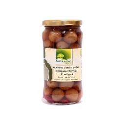 Оливки зелені з червоним перцем та часником органічні Campomar Nature, 350 г