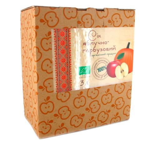 Сік яблучно-гарбузовий прямого віджиму органічний Золотий Пармен, неосвітлений, пастеризований, 3 л