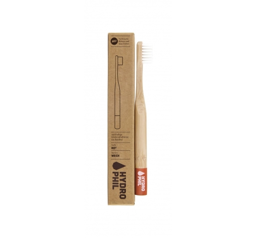 Hydrophil Sustainable Antibacterial Kids Toothbrush, Soft, Red