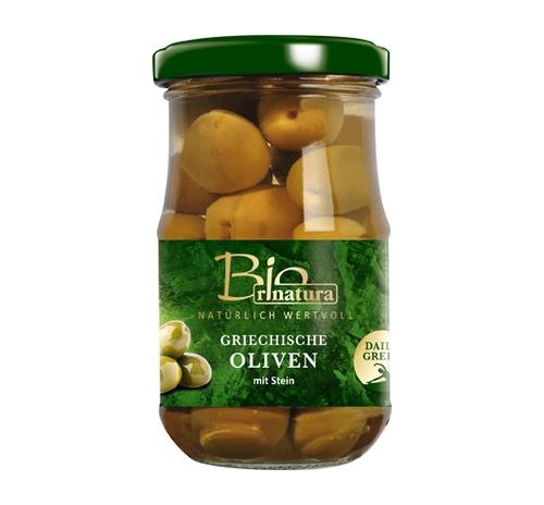 Оливки зелені грецькі Rinatura органічні з кісточкою, 212 мл