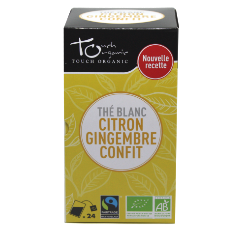 White tea 43,2g (24*1,8g) with ginger powder and lemon aroma unfermented in bags organic TOUCH ORGANIC China
