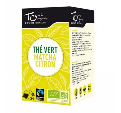 Чай зелений 43,2г (24*1,8г) з доданням чаю матча з ароматом лимону в пакетиках органічний TOUCH ORGANIC Китай