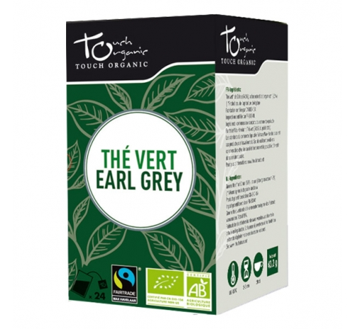 Earl Gray Green Tea 43.2g (24*1.8g) with bergamot aroma unfermented in bags organic TOUCH ORGANIC China