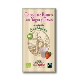 Шоколад білий з полуницею та йогуртом Chocolates Solé органічний, 100 г