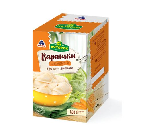 """Заморожені напівфабрикати """"Вареники з капустою"""" Рудь Хуторок, 500 г"""
