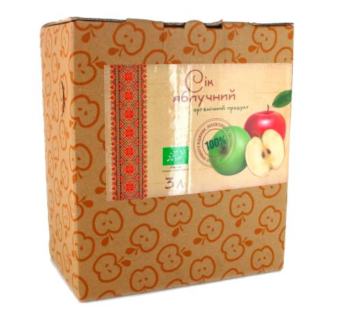 Сік яблучний прямого віджиму органічний Золотий Пармен, неосвітлений, пастеризований, 3 л