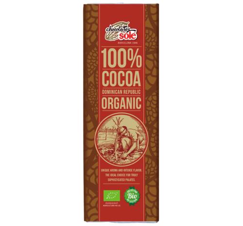 Шоколад чорний 100% какао Chocolates Solé органічний, 25 г