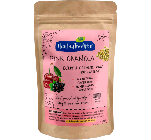 Healthy Tradition Pink Granola with Berries and Organic Raw Buckwheat, 200 g