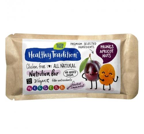 """Поживний батончик """"Чорнослив-абрикос"""" без глютену Healthy Tradition, 34 г"""