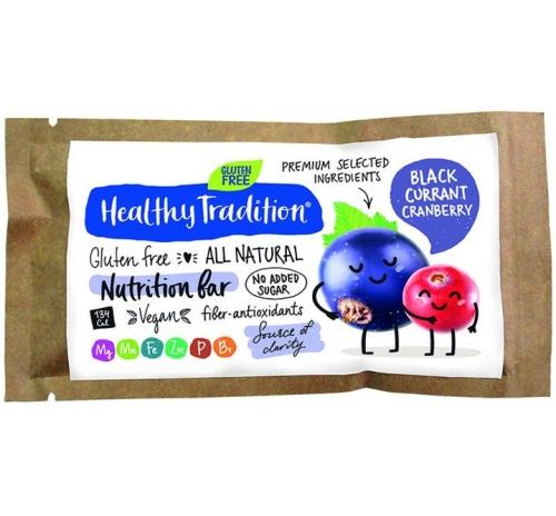 "Поживний батончик ""Чорна смородина-журавлина"" без глютену Healthy Tradition, 34 г"