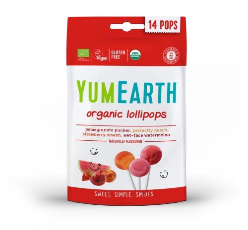 Льодяники на паличці асорті: гранат, полуниця, персик, кавун 85г органічні YumEarth
