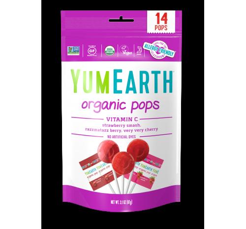 Льодяники на паличці з вітаміном С полуниця, вишня, малина 87г органічні YumEarth