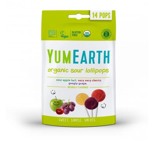 Льодяники на паличці асорті яблуко, вишня, виноград 85г органічні YumEarth