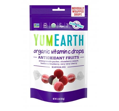 Льодяники з вітаміном С, антиоксидантні фрукти 93,6г органічні YumEarth